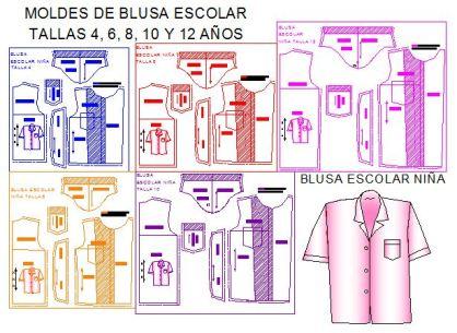 Patrones blusa escolar 5 tallas