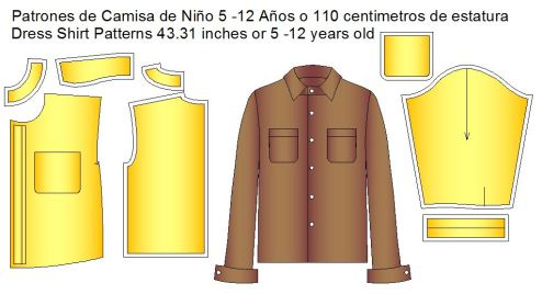 Moldes de camisa infantil dress shirt