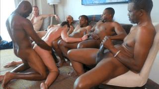 Extreme 7 Man Interracial Cuckold Gangbang for MILF & Creampie cuck