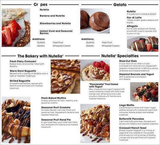 Voici le menu du premier Nutella Café