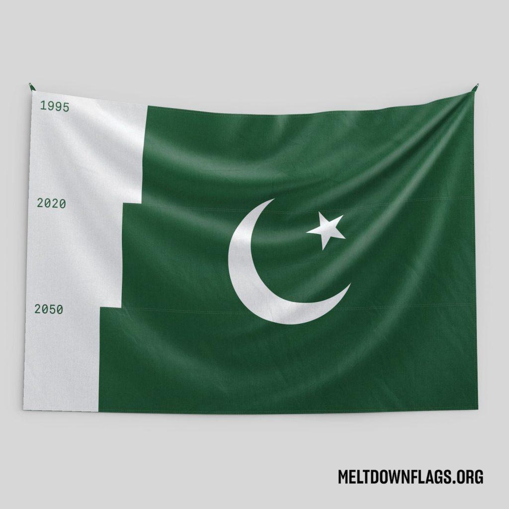 Le drapeau du Pakistan selon l'évolution de la fonte des glaces