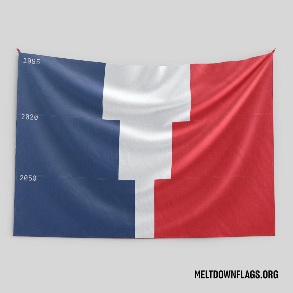 Le drapeau de la France selon l'évolution de la fonte des glaces