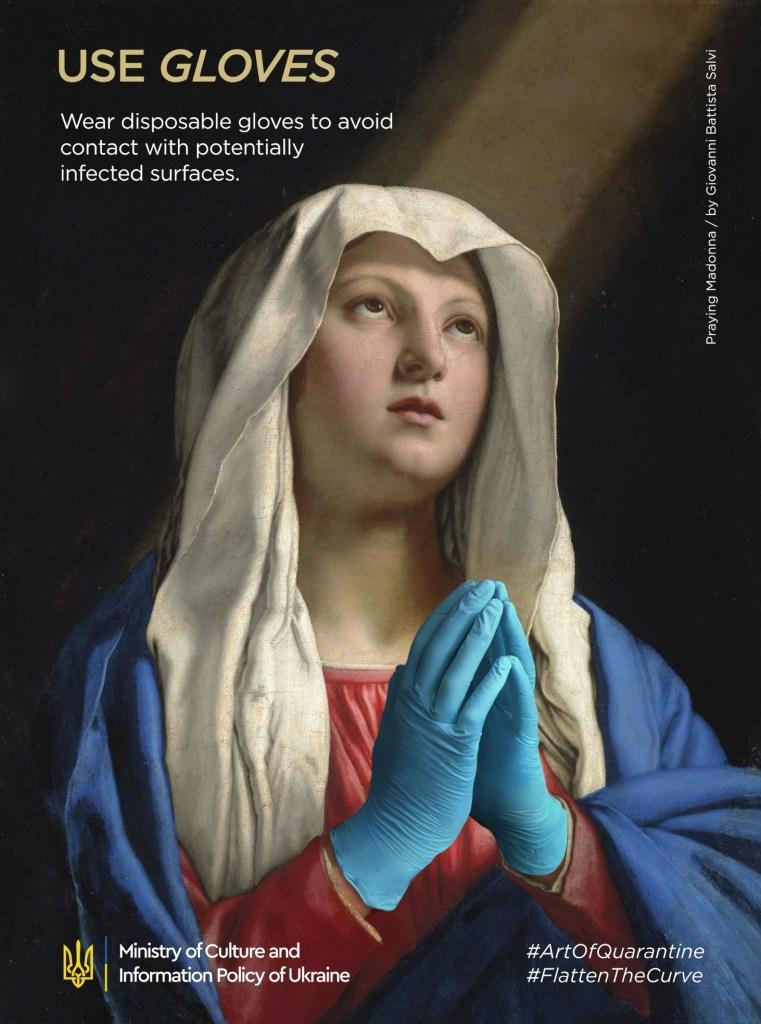 """Détournement du tableau """"Madonna in prayer"""" par Giovanni Battista Salvi"""