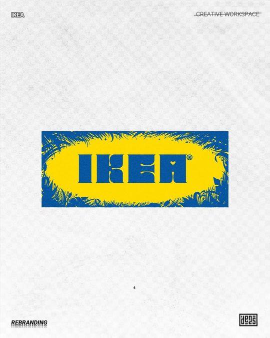 Logo d'IKEA rebrandé par de2s