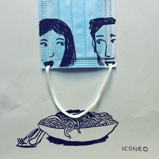 L'illustrateur Steffen Kraft détourne le masque avec une créativité débordante