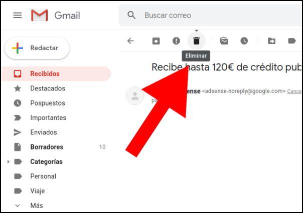 eliminar mensaje Gmail