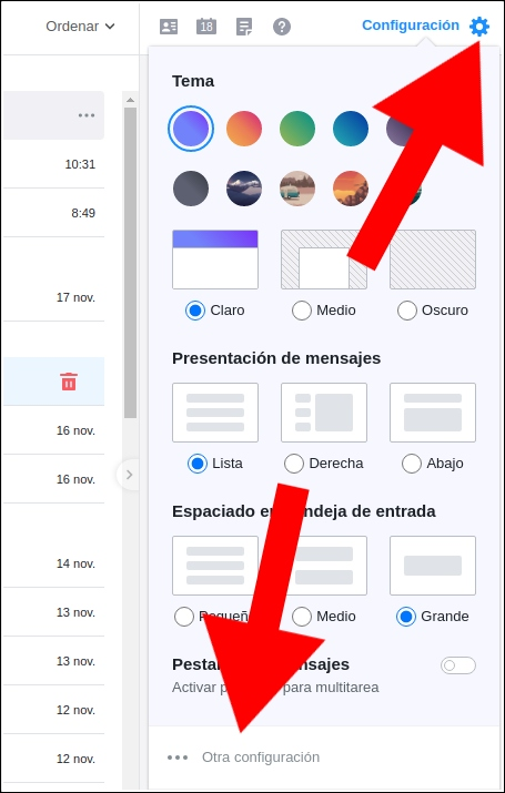 configuración Yahoo