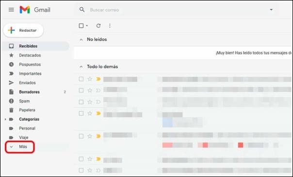 Carpeta Más Gmail