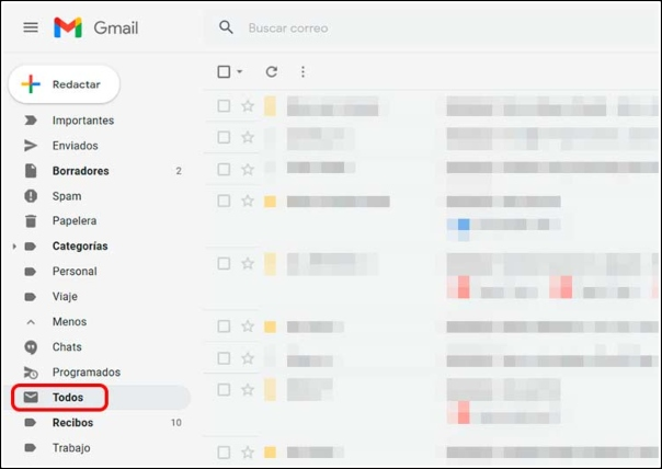 Carpeta Todos Gmail