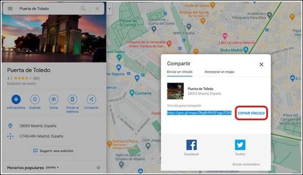 copiar direccion Google Maps