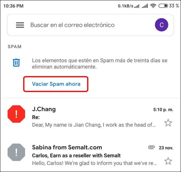 Vaciar carpeta SPAM de la app de Gmail