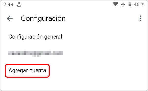 Agregar cuenta Gmail aplicación