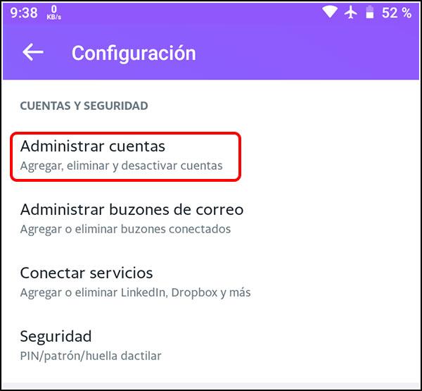 Administrar cuentas Yahoo Mail Android