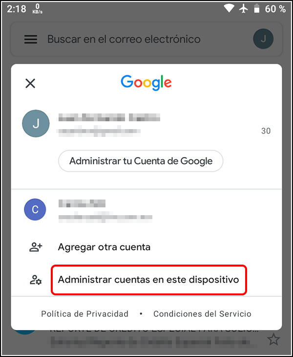 Administrar cuentas Android