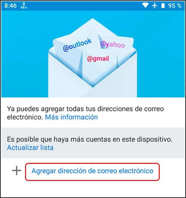 Agregar correo en Gmail