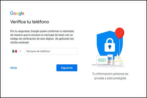 Agregar número en Gmail