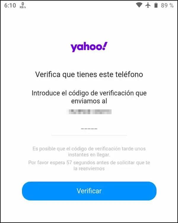 Confirmar número Yahoo