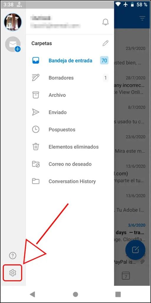 Outlook configuración Android