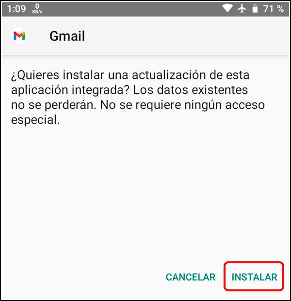 Instalar APK Gmail