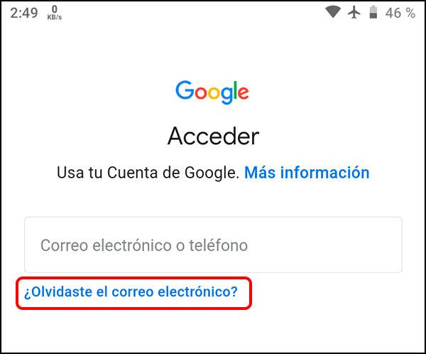 Opción para buscar cuenta Gmail