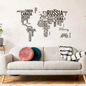 Adesivi da parete MAPPAMONDO SCRITTE 150 x 95 di CreArtDesignItaly