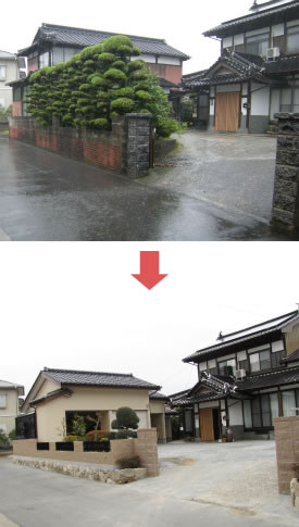 門や塀、庭を造り変え、車庫も建替え