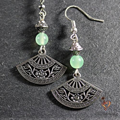 boucles d'oreilles avec pierre de jade