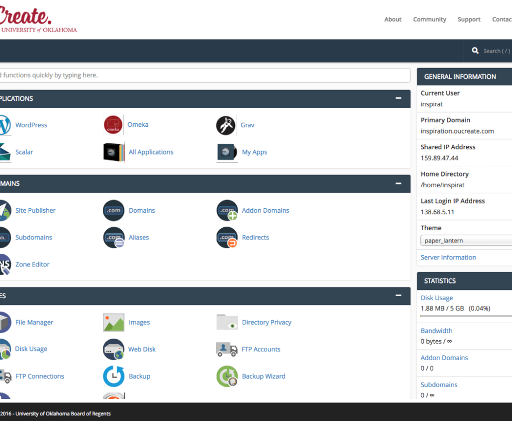 Screen shot of the OU Create cPanel showing the various icons and links for configuring a domain.