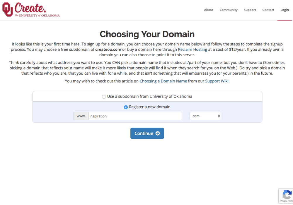 This screenshot shows the registration form for choosing your domain within the OU Create system. Within the form, users can choose between a free subdomain and a paid TLD.