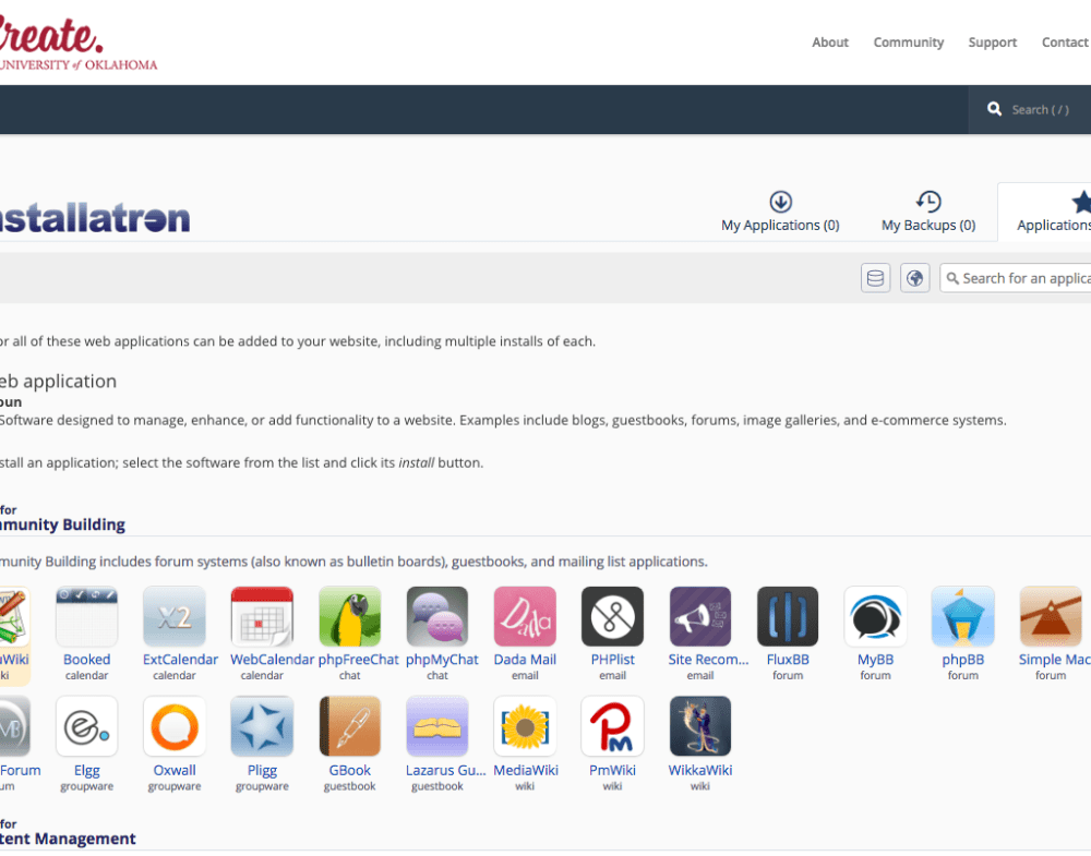 Screen shot of icons and links for the apps in the Installatron applications installer