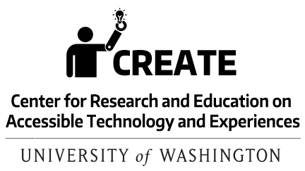 link to a downloadable CREATE logo, text centered and stacked to be almost square, with the CREATE icon of a person with a prosthetic arm holding a lightbulb and the CREATE acronym and name, Center for Research and Education on Accessible Technology and Experiences