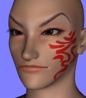 【ZBrush4R6】ル・アを作る。14 顔に模様を描く 【Daz3D】 | Create3D-3dCG制作作業日記