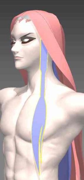 【MD4】3dで和泉守兼定の髪を作る。4