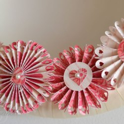 Pink paper rosette flowers gardening flower and vegetables valentine wreath made with paper rosettes create and babble mightylinksfo