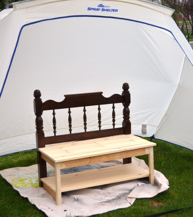repurposed-headboard-made-into-garden-bench -ready-to-paint-in-homeright-spray-shelter