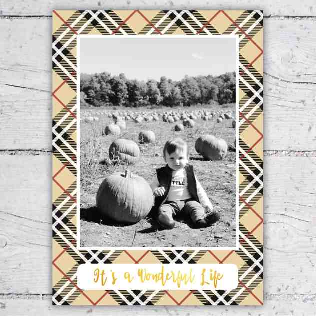 Designer Inspired Tan & Red Plaid Photo Christmas or Holiday Card | 5x7 | Print-It-Yourself | Designer Inspired With Gold Lettering