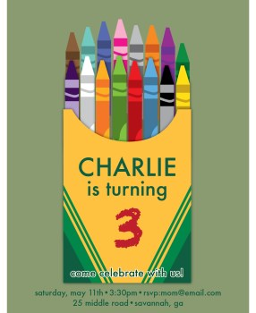 Charlie's 3rd Birthday | Crayon Birthday Invitation | Create&Capture