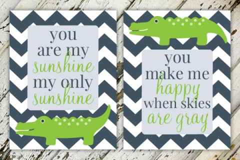 You Are My Sunshine | Alligator Navy & Green Boy's Nursery Print Set
