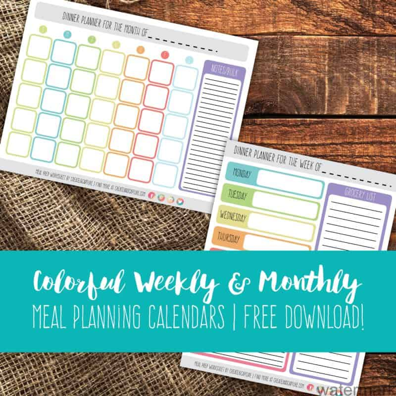Colorful Weekly & Monthly Meal Planning Calendars   Free Download