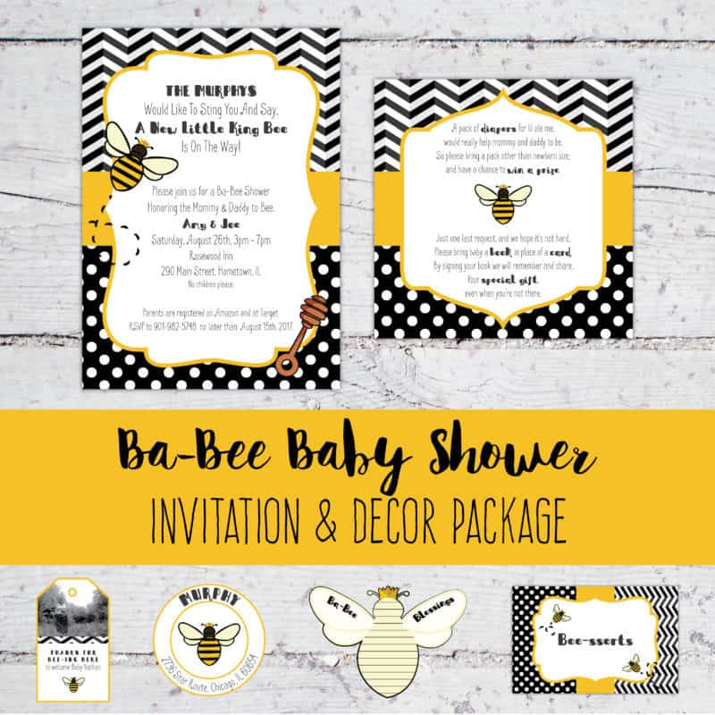 Ba-Bee Baby Shower Invitation & Decor Package