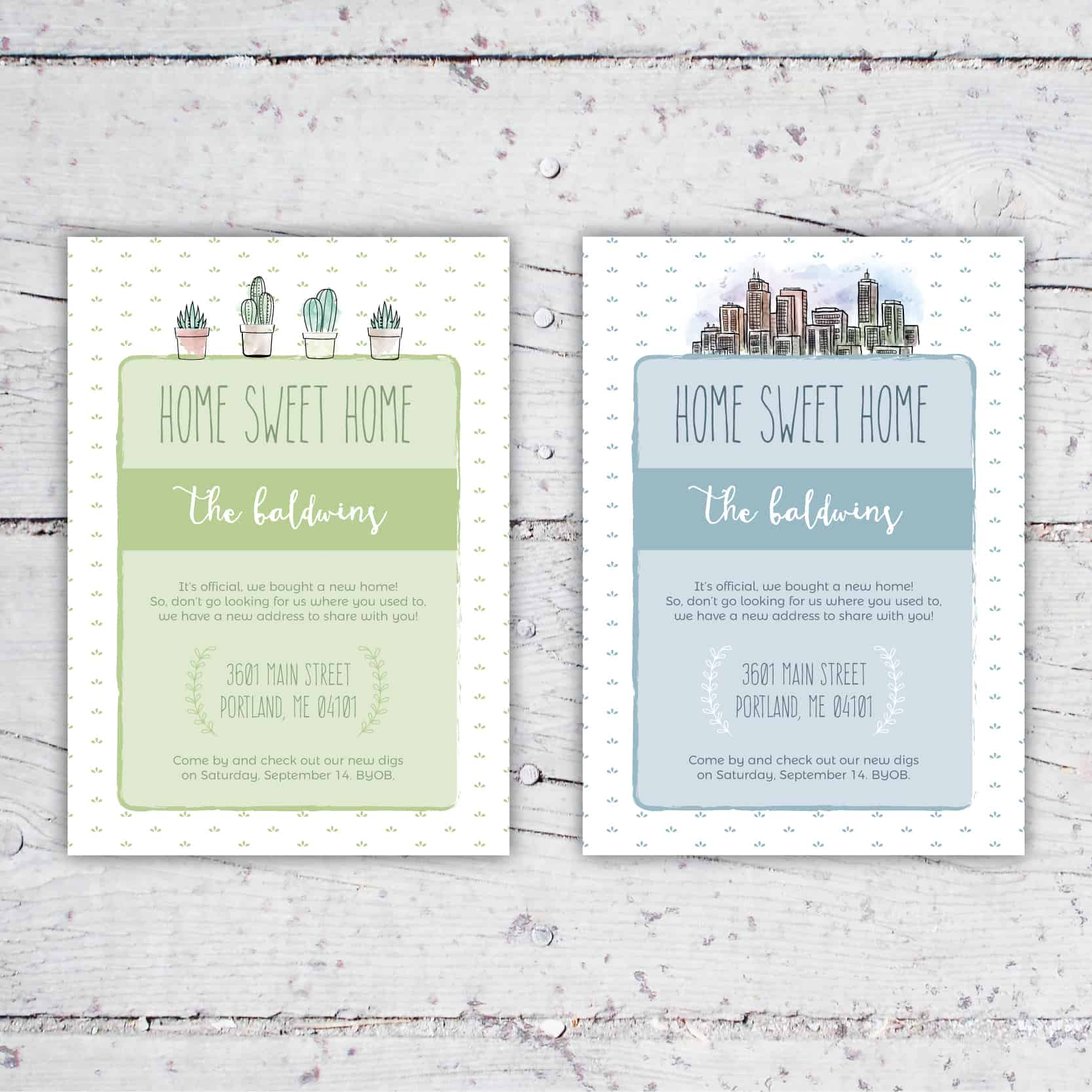 Home Sweet Home Moving Announcement | 5x7 | New House, New Address, House Warming Party | City or Succulents | Digital Download | Printable