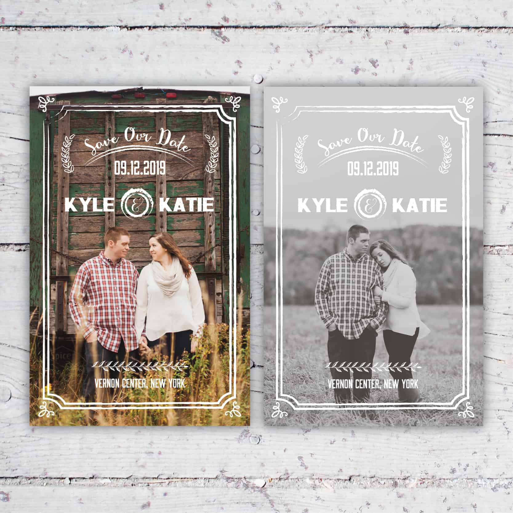 Rustic Chic Save The Date Photo Card