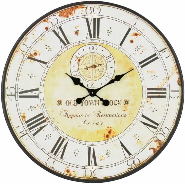 "Oversized Round Metal 31.5"" Wall Clock"