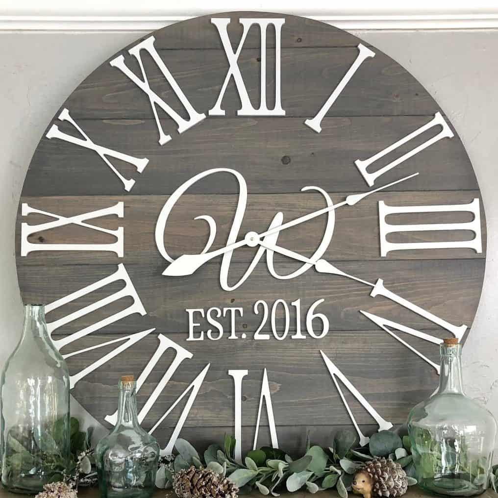 """The Bailey-Monogram"" Roman Numeral Farmhouse Wall Clock"