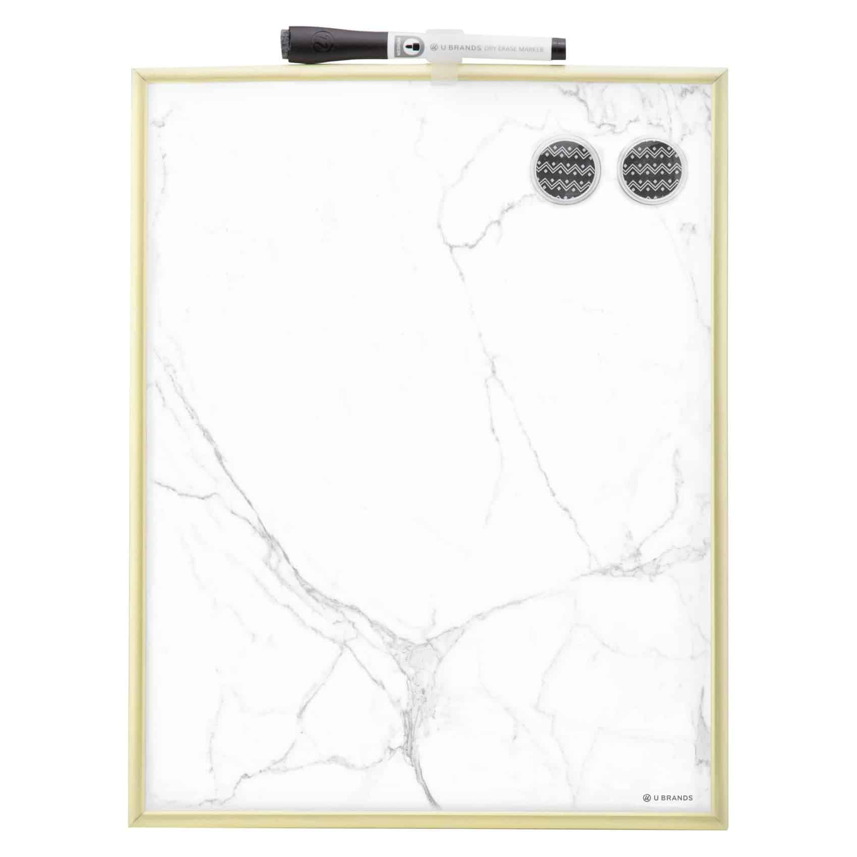 "11"" x 14"" Marble Dry Erase Board Gold Frame 