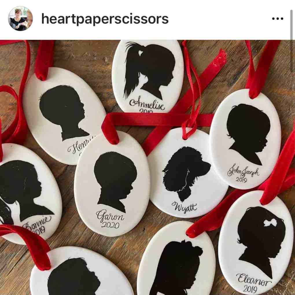 heartpaperscissors silhouette christmas ornaments | create&capture gift guide 2020