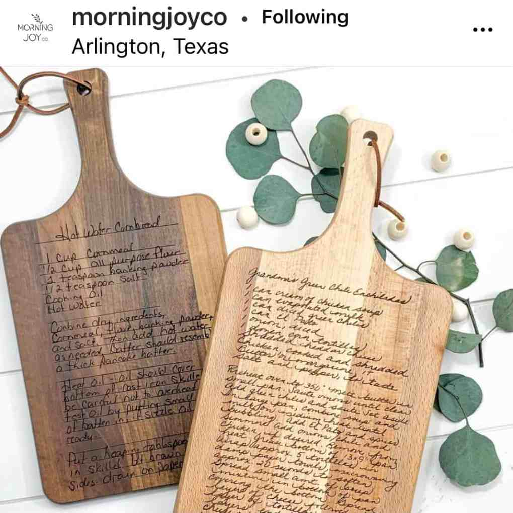 MorningJoyCo Custom Recipe Cutting Board on Etsy | Create&Capture 2020 Gift Guide