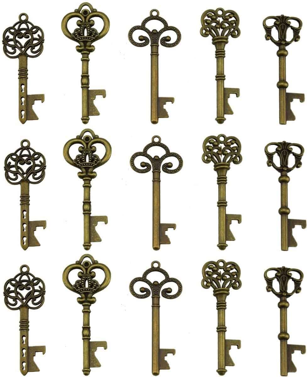 Key Bottle Openers - Assorted Vintage Skeleton Keys, Wedding Party Favors (Pack of 25, Bronze)   Alice In Wonderland Birthday Party Theme   Create&Capture
