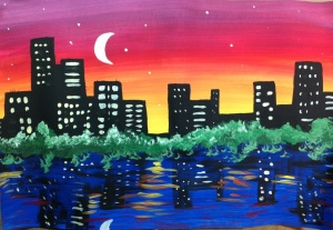 Night SkyLine Cityscape Painting