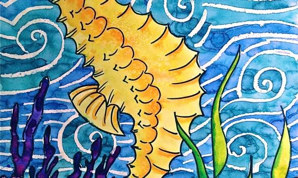 Sea Horse Texture Oil pastel & watercolor resist